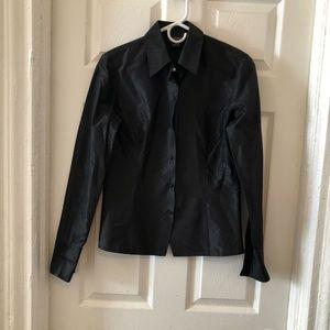 Ann Taylor 100% silk black top